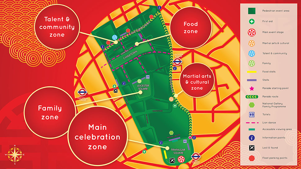 Event map for Chinese New Year in London
